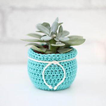 Succulent Planter Flower Pot Crochet Plant Cozy Decorative Container Fabric Home Decor Mint Green Planter