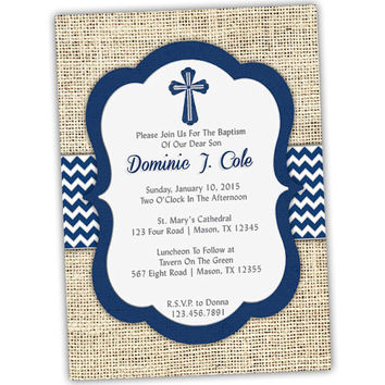 Navy Baptism Invitation Boy - Baby Boy Blue Christening Invitations - Country Burlap Chevron  - Spanish Communion- Grey Cross