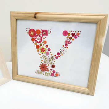 Personalised Letter Y Initial Orange Pink Framed Nursery Birthday