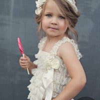 Children Clothing - Wedding outfit for Flower Girls - Cream color lace romper -  - Lace Romper