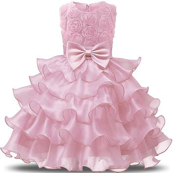 Flower Girls Princess First Birthday Outfits 1 and 2 Years Old Birthday Baby Toddler Dresses Clothes Vestido Infantil Para Festa