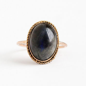 Vintage 10k Rosy Yellow Gold Labradorite Cabochon Stick Pin Conversion Ring - Size 6 1/2 Edwardian Era Genuine 6 Carat Blue Gem Fine Jewelry