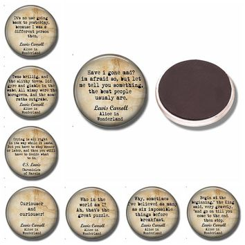 Alice In Wonderland Fridge Magnet Quote 30 MM Round Glass Dome Magnetic Refrigerator Stickers Kitchen Tools Home Decoration