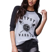 Gypsy Warrior Raglan T-Shirt - Womens Tee - Grey