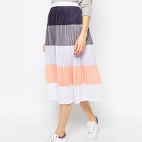 ASOS Pleated Midi Skirt in Colour Block
