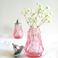 Antique Cranberry Salt and Pepper Shakers/Cottage Table Decor