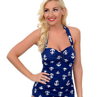 Esther Williams Vintage 1950s Style Pin Up Navy & White Anchors Aweigh Sheath Swimsuit