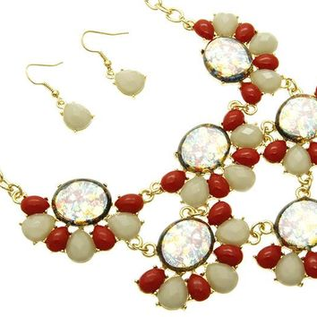 Red Faceted Lucite Bead Link Necklace And Earring Set