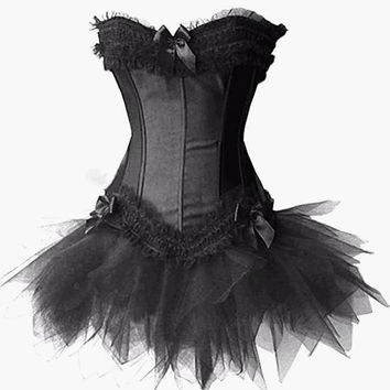 5 Color Women Corsets And Bustier Top Gothic Corset Dress Overbust Wasit Corselet with Bow Top+Tutu Skirt