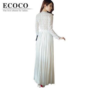 S Brand Brief Long Sleeve Floor-length Lace Hollow Patch Maxi X-long White Red Spring Summer Dress Pleated Evening Party Xl D172