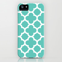 Aqua Quatrefoil iPhone & iPod Case by The Petite Pear