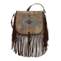 Pueblo Moon Crossbody Fringe Bag - Charcoal Brown