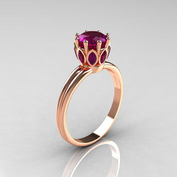 Modern Antique 18K Pink Gold Marquise and 1.0 CT Round Amethyst Solitaire Ring R90-18KPGAMM