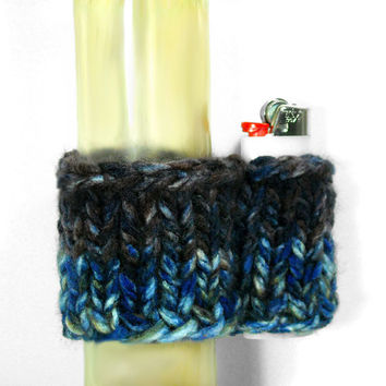 Knit Waterpipe Cozy and Lighter Holder Set, STARRY NIGHT