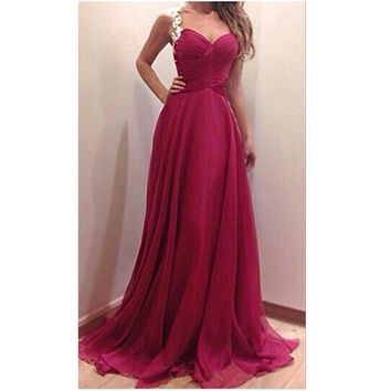 2015 Party Dress Women Fashion Red Maxi Dress Slim V-neck Sexy Dress Halter Lace Suspenders Chiffon Dress Plus Size F91