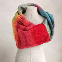 Rainbow Tribe - hands free warm knit stole wrap for winter evenings