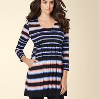 Soma Intimates Empire Waist 3/4 Sleeve Tunic Ikat Stripe Black/Tea Rose