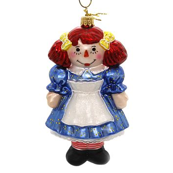 Holiday Ornaments RAGGEDY ANN Glass Hand Painted 1394P