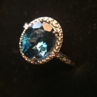 RESERVED Layaway Listing (9 of 9) for JackT - Vintage Blue Topaz Ring and Diamond Accent. Engagement Ring. GLA Cert. Center Stone 3.13 Crts.