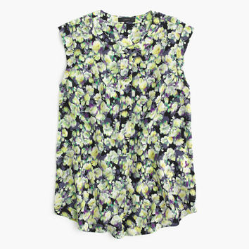 J.Crew Womens Petite Sleeveless Drapey Popover Shirt In Clover Print