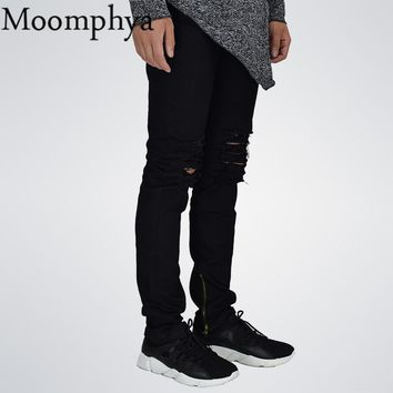 Moomphya 2017 New Men Ripped holes jeans Denim skinny slim fit hip hip jeans men Distressed black jeans