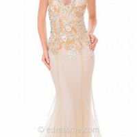 Romantic V Neck Floral Trumpet Prom Gown by Atria