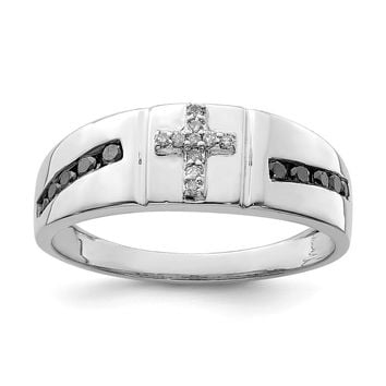 925 Sterling Silver Rhodium Black and White Diamond Cross Men's Ring