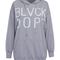 Grey Letter Print Pouch Pocket Detail Oversized Hoodie