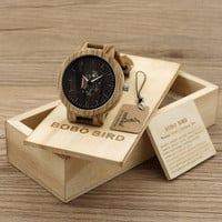Men's Wood Watches with Natural Brown Cowhide Leather Strap Quartz Watch Packaged in a Wooden Gift Box