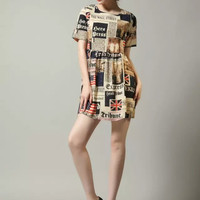 National Flag Print Sleeve Pleated Dress