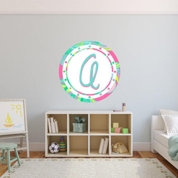 Monogram Letter A Floral Wall Decal Sticker Graphic Removable Reusable Blue Pink Green Yellow Lilly Pulitzer Inspired Home Decor