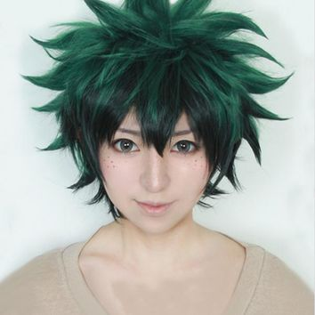 My Boku no Hero Academia Izuku Midoriya Short Green Black Heat Resistant Cosplay Costume Wig