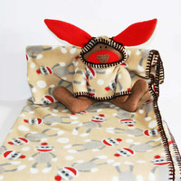 Monkey Business Security Blanket -- Unique Baby Blanket -  sock monkey baby blanket - handmade baby blanket - baby shower gift - boy or girl