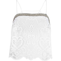 River Island Womens White Pacha lace embellished cami top