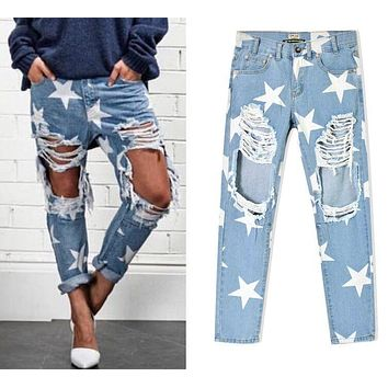 2016 New arrival Europe & United States Women's Clothing Loose star stamp hole  baggy jeans Ms fashion personality denim pants