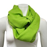 Luxury Divas Green Knit Solid Color Circle Eternity Ring Scarf