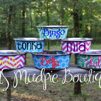 Monogrammed Pet Bowl (Two Sizes Available), Personalized Pet Bowl