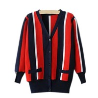 Sweater Winter Stripes V-neck Long Sleeve Knit Tops Jacket [8115657985]