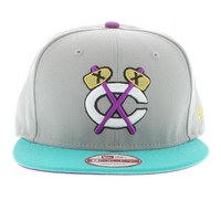 Chicago Blackhawks Gray, Teal, Grape, Gold SNAPBACK By New Era Cap