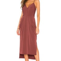 BCBGeneration Slit Midi Dress in Mahogany