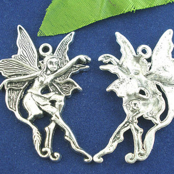 2 Silver Fairy Charm Pendants Wing Fairies Gypsy Goth Beautiful Large 105A