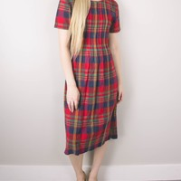 Vintage 70s Plaid Midi Dress
