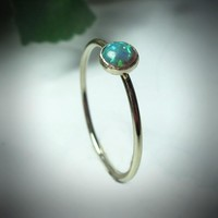 Stacking Ring Gold MMS03 Fire Opal Gemstone