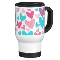 Cute Pink Purple & Blue Hearts Pattern Travel Mug- Cute coffee mugs, girly mugs, Valentine's Day gift for girls,for teens