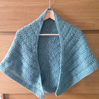 Hand Knitted Shawl, Hand spun Corriedale Wool, Colour Teal, very soft & warm, Pretty lace pattern