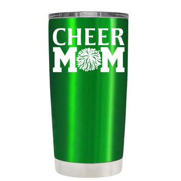 Cheer Mom Pom Pom on Translucent Green 20 oz Tumbler Cup