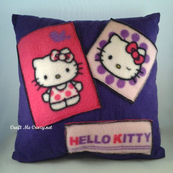 SALE Postcard Patchwork Pillow using Hello Kitty Fabric- 12 inch x 12 inch- Flannel/Fleece