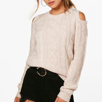 Lola Crew Neck Cold Shoulder Cable Jumper | Boohoo