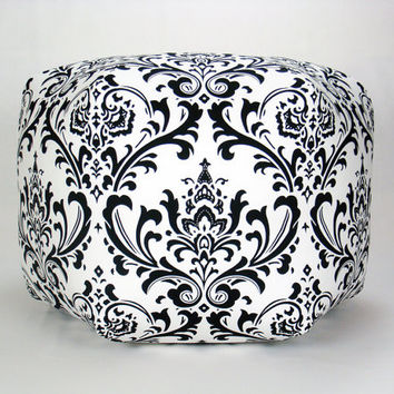 "24"" Floor Ottoman Pouf Black & White - Damask Contemporary Modern Print"