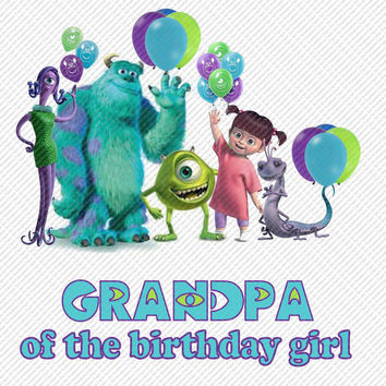 Monsters Inc Grandpa of the Birthday Girl Printable Digital Iron On Transfer Clip Art DIY Tshirts Instant Download